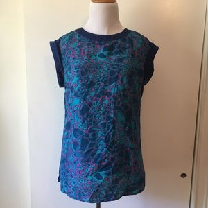Fred David blue and pink blouse size:XS